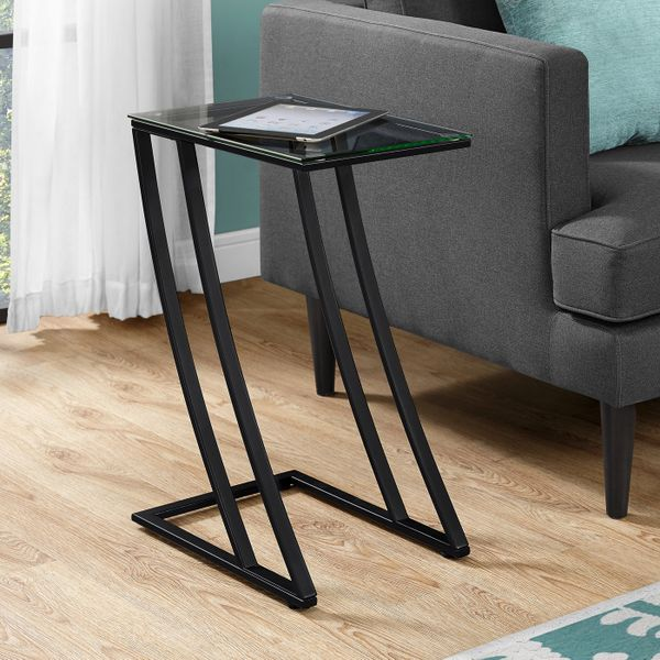 """Monarch 24"""" Contemporary Tempered Glass Top Z-Shaped Metal Frame Accent Side End Table - Black Finish 