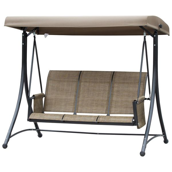 Outsunny Outdoor Swing Chair 3 Patio Swing With Canopy Loveseat Porch Swing & A Sling Mesh Seat - Brown Metal Fabric Backyard Balcony Top   Aosom