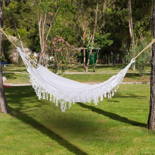Outsunny Brazilian Style Hammock Extra Large Cotton Hanging Camping Bed with Carrying Bag, for Patio Backyard Poolside, Weight Capacity 330lbs, White and 330lbs | Aosom