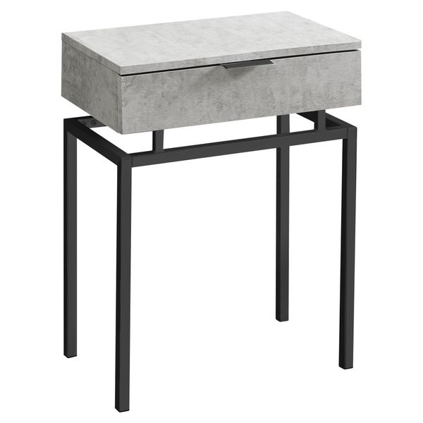 "Monarch 24"" Contemporary End Table Night Stand with Large Storage Drawer and Metal Base - Grey Cement-Look / Black Nickel Metal Base 