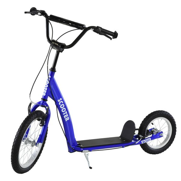 Aosom Scooter for 6 Year Old Youth Kick Scooter Adjustable Handlebar Teens Ride On Toy For 5+ w/ Front and Rear Dual Brakes Inflatable Wheels | Aosom