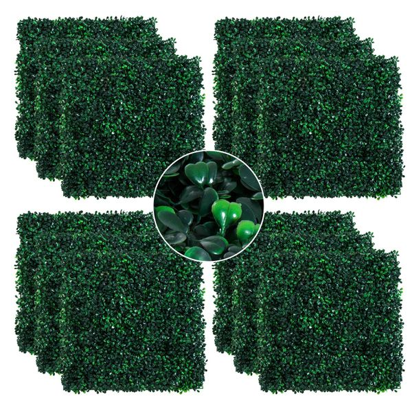 """Outsunny 12 Piece 20""""x 20"""" Artificial Boxwood Hedge Mat Plant Panels Greenery Walls artificial boxwood plant panel 