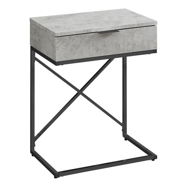 """Monarch 24"""" Contemporary End Table Night Stand with Large Storage Drawer and Metal X-Design Frame - Grey Cement-Look / Black Nickel Base 