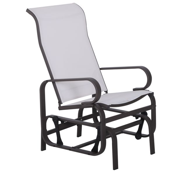Outsunny Patio Sling Fabric Glider Swing Chair Seat Lounger Porch Rocker Outdoor Garden | Aosom