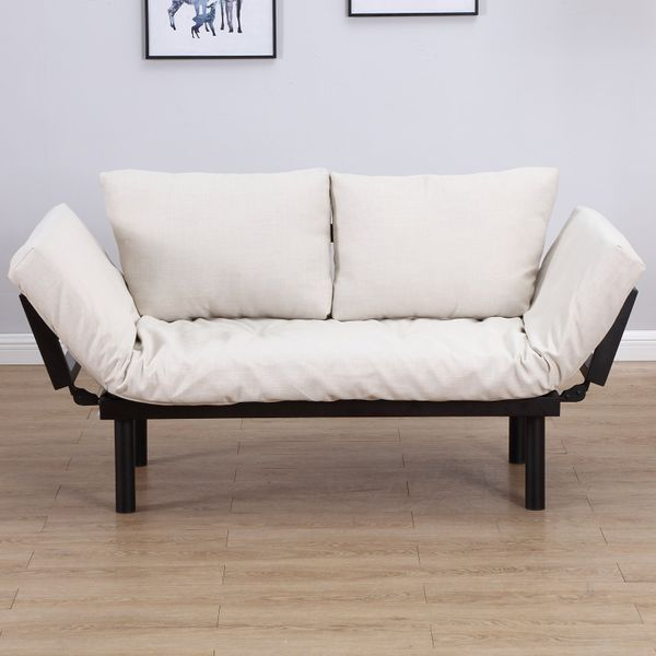 HomCom Convertible 3-Position Relaxing Futon Birch Wood Daybed Lounger Sofa Bed Loveseat - Black / Cream White | Aosom