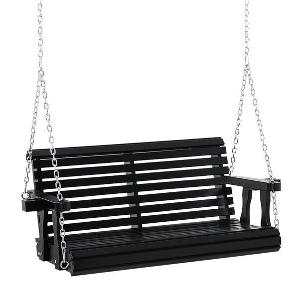 Outsunny Porch Swing Chair 2 Seater With Cup Holder Chains Wooden Hammock Bench For Garden Patio Yard Black Chair W/ Hanging   Aosom
