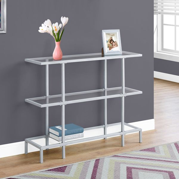 """Monarch 42"""" Contemporary Tempered Glass Top 3-Tier Metal Framed Accent Console Table - Silver Finish   Aosom"""