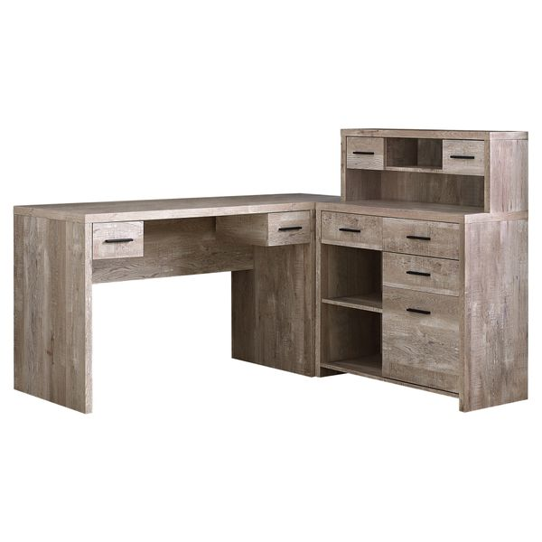 """Monarch 63"""" L-Shaped Contemporary Reclaimed Wood-look Computer Desk with Storage - Taupe 