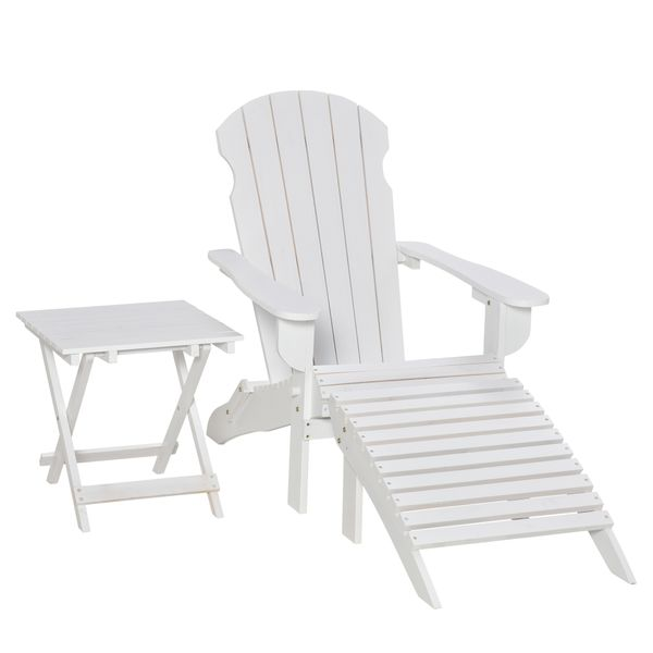 Outsunny 3 Piece Patio Furniture Set Adirondack Chair with Ottoman and Table Folding Design Outdoor Wooden Lounger for Lawn Garden Patio Porch Living Room White w/   Aosom