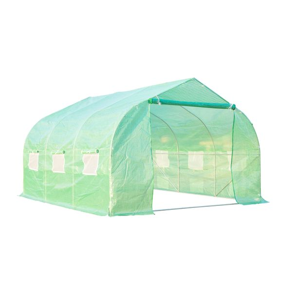 Outsunny 12ft x 10ft x 7ft Portable Walk-In Garden Greenhouse - Deep Green | Aosom