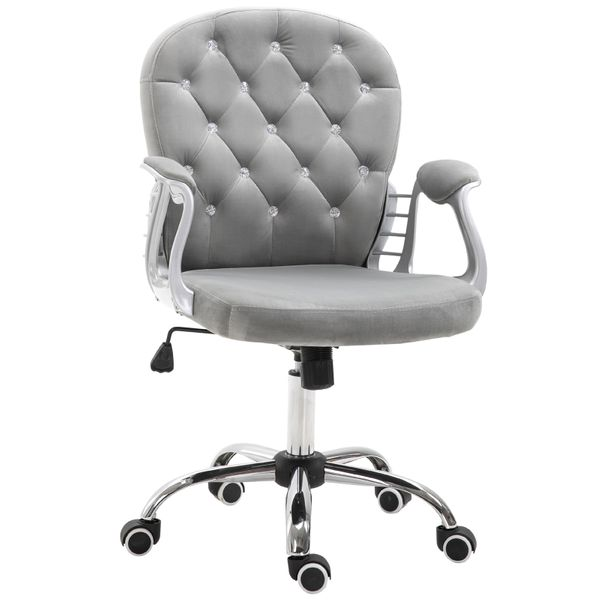 Vinsetto Ergonomic Office Chair Vanity Middle Back Office Chair Tufted Backrest Swivel Rolling Wheels Height Adjustable Task Chair With Armrests - Grey   Aosom