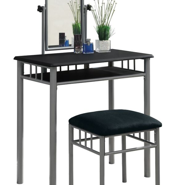 Monarch 2-Piece Modern Grey Metal Frame Vanity Makeup Table Set with Padded Bench Seat and Mirror - Black Finish   Aosom