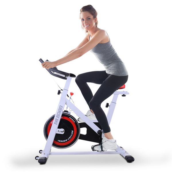 Soozier 17.6lbs Flywheel Exercise Bike Aerobic Training Indoor Cycling Stationary Cardio Workout Home Fitness Racing Machine Resistance Gym   Aosom