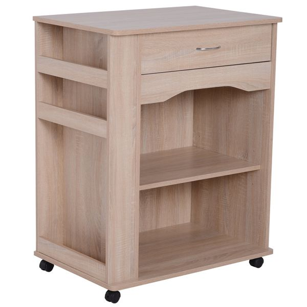 HOMCOM Wood Rolling Kitchen Microwave Oven Cart with Wheels and Storage - Oak   Aosom