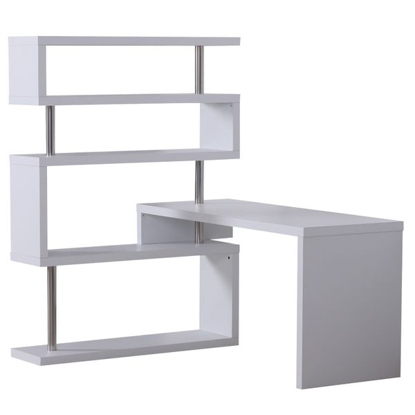 HomCom Foldable Rotating Corner Desk and Shelf Combo White / Home Office Storage -Rotating corner desk with shelves | Aosom