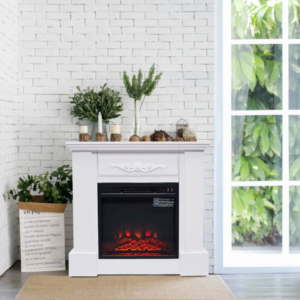 """HOMCOM 30"""" 1400W Freestanding Energy Efficient Electric Fireplace Heater with Mantel - Beige 