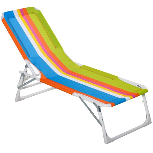 """Outsunny Chaise Lounge Chair for Kids Patio Colorful Stripes Folding Recliner Portable with Adjustable Backrest Outdoor Beach Pool Camping 46.5"""" x 15.75"""" x 9.5"""" Foldable Lightweight   Aosom"""
