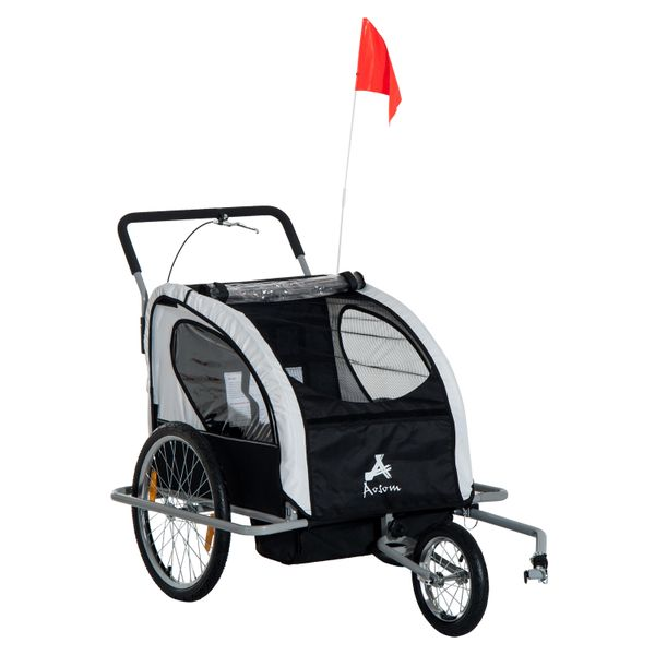 Aosom 2-in-1 Double Child Bike Trailer and Stroller - Black  child bike trailer and stroller|Aosom.com