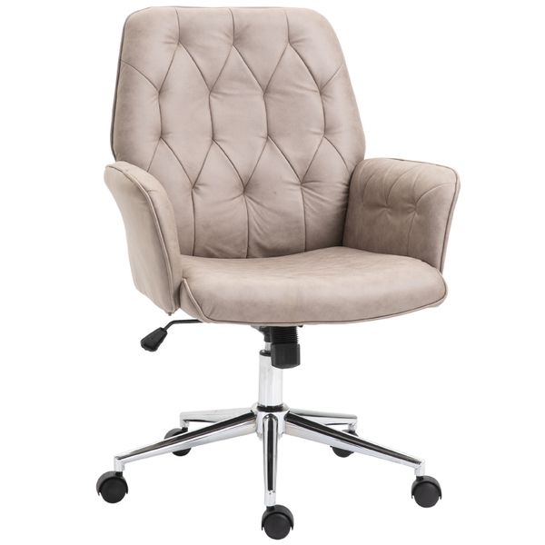 Vinsetto Modern Mid Back Tufted Linen Fabric Home Office Task Chair With Arms Swivel Adjustable Desk Chairs Aosom