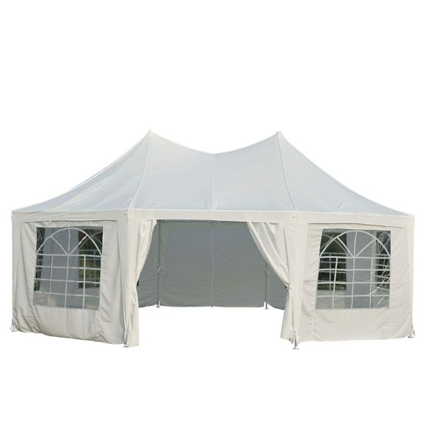 Outsunny 22' x 16' Large Octagon Party Gazebo Canopy Tent - White|AOSOM.COM