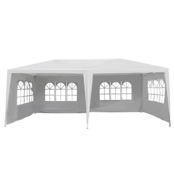 Outsunny White 10' x 20' Gazebo Canopy Tent Party Tent with 4 Removable Window Side Walls | Aosom