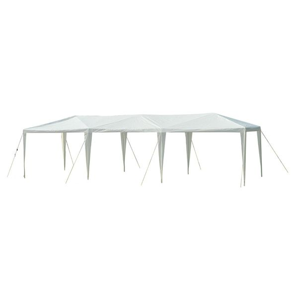 Outsunny 10' x 30' Easy Open Gazebo Canopy Tent with Removable Mesh Side Walls - White / large canopy with sidewalls | Aosom