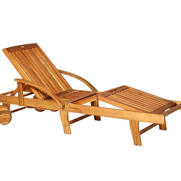 Outsunny Acacia Wood Folding Patio Sun Lounger with Wheels and Pull-Out Tray|AOSOM.COM
