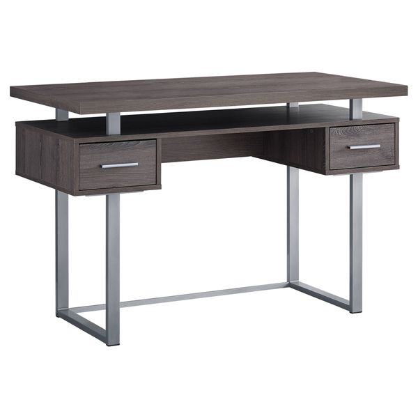 "Monarch 48"" Contemporary Wood-look and Metal Computer Writing Desk - Dark Taupe / Silver Metal 