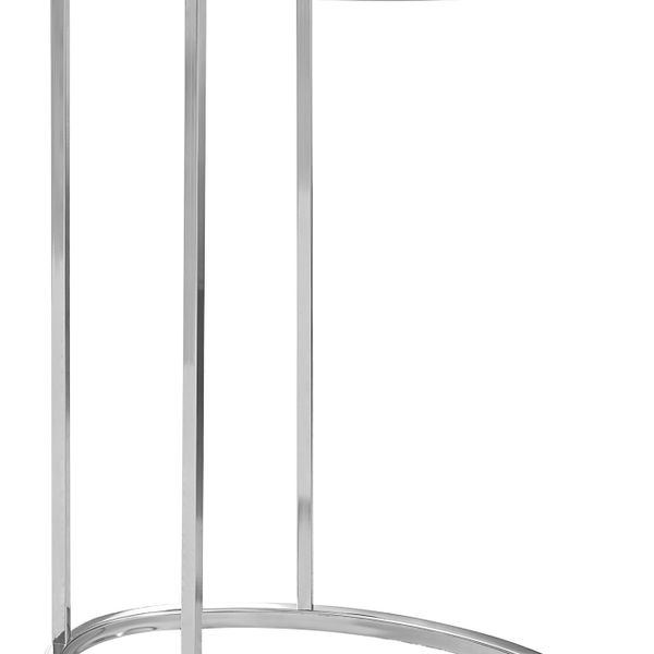 """Monarch 25"""" Contemporary Oval Wood Grain-Look Top Chrome Metal Base C-Shaped Side Accent Table - Grey Finish   Aosom"""