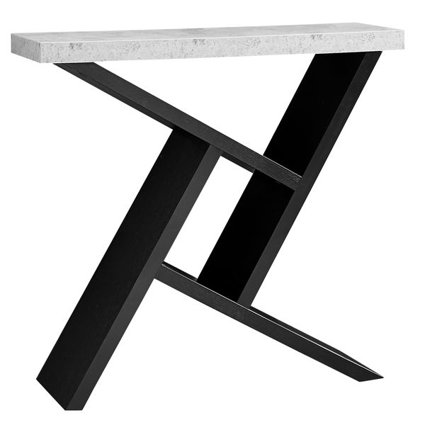 """Monarch 36"""" Architectural Modern Cement-Look Top Angular Storage Base Accent Console Table - Black Finish 