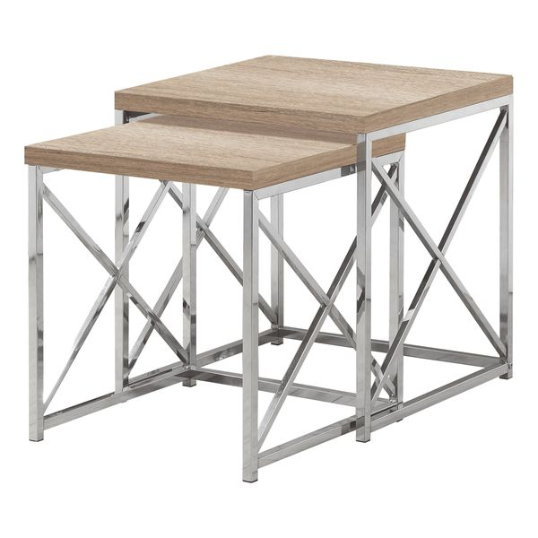 Monarch Contemporary 2 Piece Wood Grain-Look Top Chrome Metal Frame Accent Side Nesting Table Set - Natural Finish | Aosom