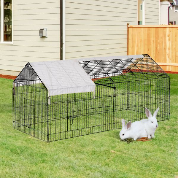 """PawHut 87"""" x 41"""" Outdoor Covered Galvanized Metal Dog Kennel Playpen88"""" Small Animal Enclosure with Protective Cover - metal dog kennel