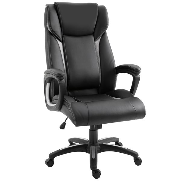 Vinsetto Ergonomic Office Chair Adjustable Height Pu Leather Rocker 360 Swivel Home Task Seat Black Desk Executive Chairs Aosom