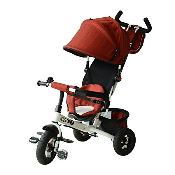 Qaba 2-in-1 Lightweight Tricycle Baby Stroller (Red)|AOSOM.COM