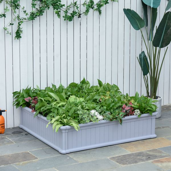 """Outsunny Raised Garden Bed 48.5"""" X 48.5"""" X 11.75"""" Outdoor Plant Bed For Veggies Flowers & Plants With Strong Materials Grey Outside Elevated Planter/Garden Box Fruits W/ Durable Design 