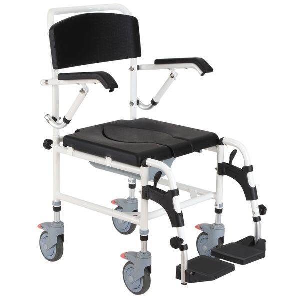 HOMCOM Accessibility Commode Wheelchair with 4 Castor Wheels and Rectangle Detachable Bucket - Black   Aosom
