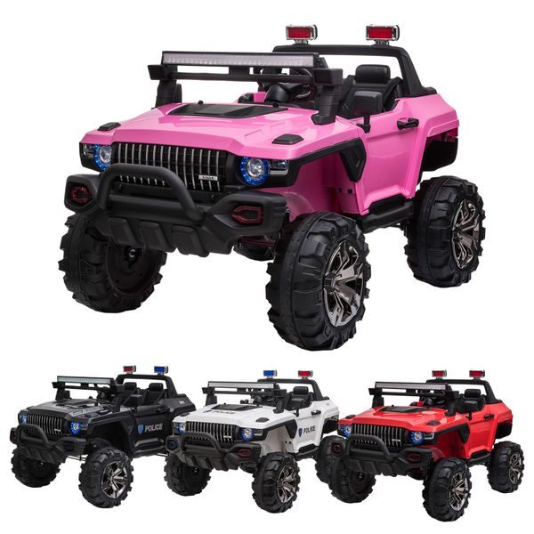 Kids 12V RC 2-Seater Ride-On Police Truck LED Lights  MP3|AOSOM.COM
