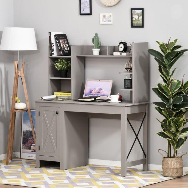 HOMCOM Computer Desk with Hutch and Storage Cabinet Home Office Computer Workstation  Study Writing Table Grey File Working | Aosom