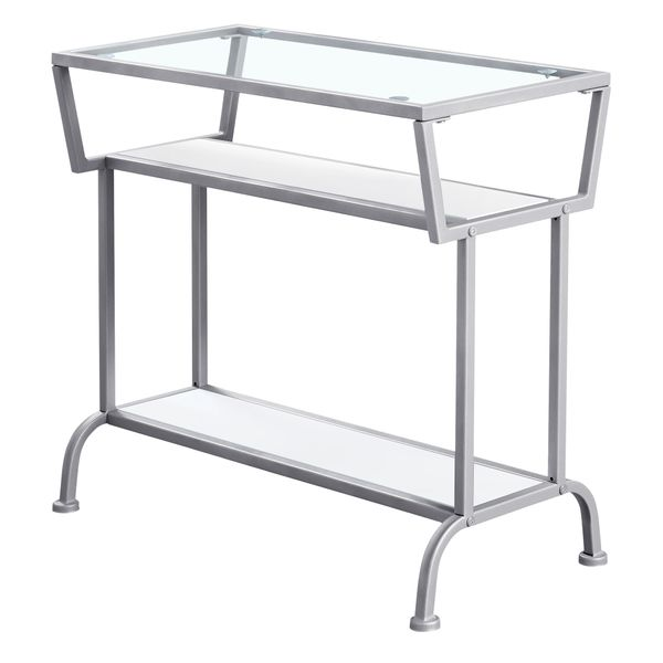 """Monarch 22"""" 3-Tier Contemporary Tempered Glass Top Metal Framed Side Accent Table - White Finish   Aosom"""