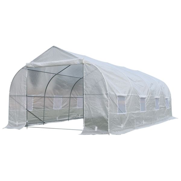 Outsunny 10x20 Greenhouse Deluxe High Tunnel Walk-In Garden Greenhouse Kit Year Round Greenhouse - White | Aosom