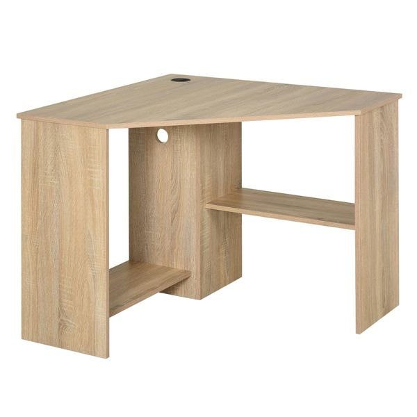 HOMCOM Multi-Tier Corner Computer Desk Writing Table for Home & Office with Multiple Shelf Build & Sturdy Design Natural Modern Indoor Laptop w/ Strong | Aosom