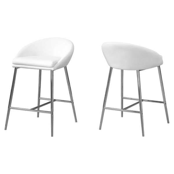 Monarch 2 Piece Modern PU Leather Padded Seat Chrome Legged Counter Height Barstool Chair Set - White   Aosom