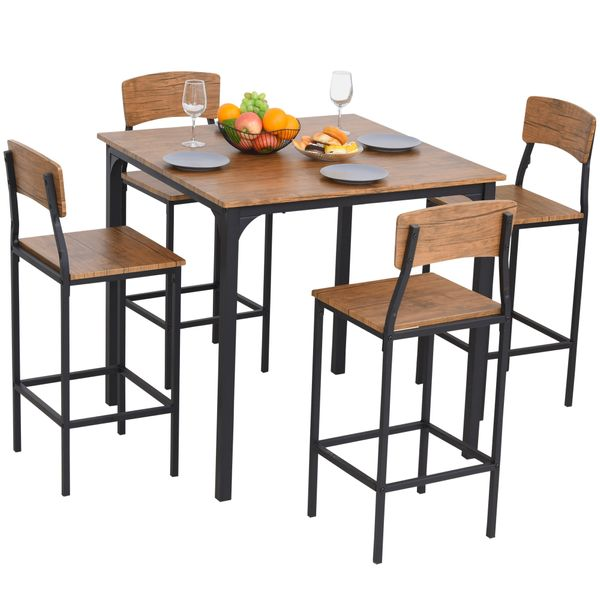 Homcom 5 Piece Modern Dining Set Compact Kitchen Dining Table 4 Chairs Set W Metal Legs Small And Furniture Dining Sets Aosom