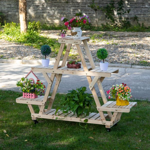 Outsunny 56'' x 14'' x 41'' 4 Tier Wooden Plant Stand with Removable Wheels  Large Display Capacity & Wood Build Natural 56''x14''x41'' | Aosom