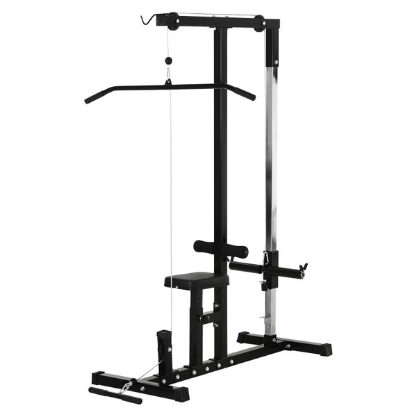 Soozier Exercise Pulldown Weight Machine with Multiple Adjustable Cable Positions for Strengthening Many Muscle Groups Strength Law Workout w/ 5-Position Smooth Pulley System | Aosom