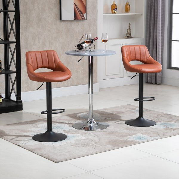 Homcom Tall Bar Stools Modern Barstools Set Of 2 Counter Stools Height Adjustable Swivel Bar Chairs With Gas Lift, Footrest For Kitchen, Home Bar, Brown | Aosom