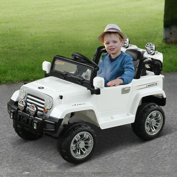 Aosom 12V Kids Electric Battery Powered Ride On Car Truck w/ Remote Control - White / powered riding jeep toy with MP3   Aosom