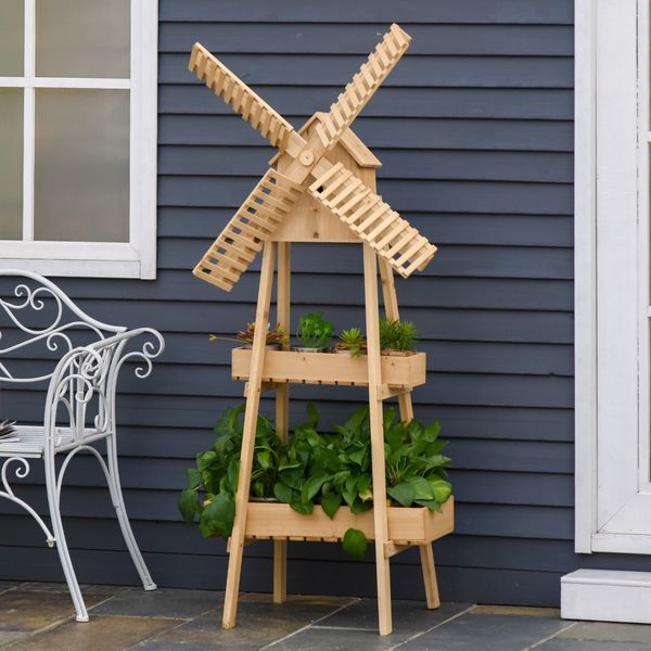 Outsunny 32'' x 17'' x 61'' 2 Tier Wooden Plant Shelf with Windmill & Bird House Plant Pots Holder Stand Indoor Outdoor w/ and | Aosom