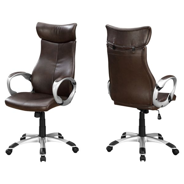 Monarch Contemporary Ergonomic Faux Leather Swivelling Executive Office Chair - Brown / Silver | Aosom