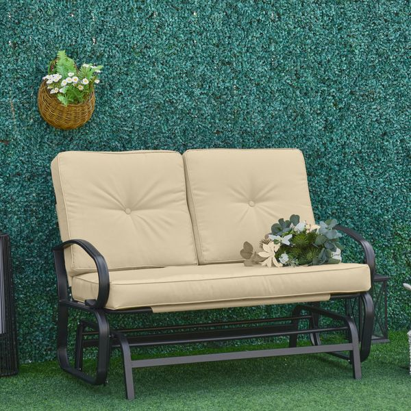 Outsunny Outdoor 2-Person Gliding Chair Patio Glider with Cushions and Armrest for Garden Yard Porch Steel Beige   Aosom